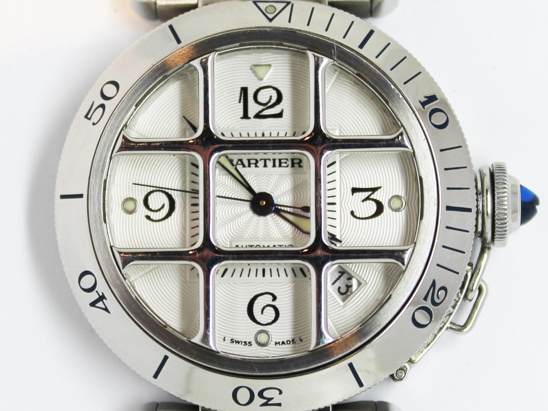 カルティエパシャ38MM コンベックスグリッドW3105955